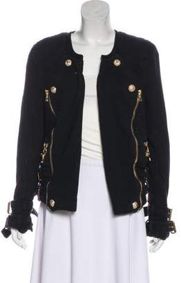 Balmain Collarless Open-Face Jacket
