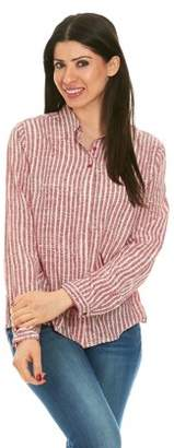 Brio LADIES WEAR Women's Collared Button Down Long Sleeve Top