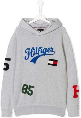 Tommy Hilfiger Junior TEEN flocked logo patch hoodie