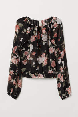 H&M Airy Blouse with Flounces - Black