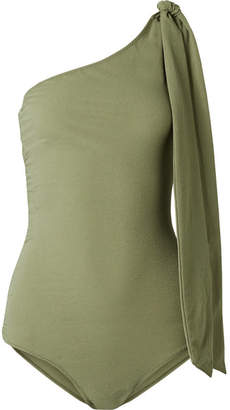 Lisa Marie Fernandez Arden One-shoulder Ruched Stretch-crepe Swimsuit - Army green