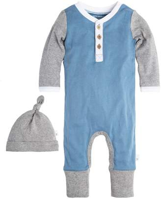Burt's Bees Henley Blue Organic Baby Coveralls with Hat