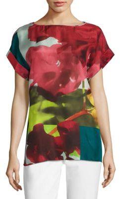 Lafayette 148 New York Lori Floral-Print Silk Blouse $498 thestylecure.com