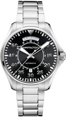 Hamilton Analog Pilot Day Date Stainless Steel Bracelet Watch