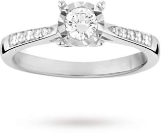 Brilliant cut 0.34 total carat weight solitaire and diamond set shoulders ring in 9 carat white gold