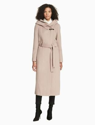 Calvin Klein luxe toggle belted hooded coat