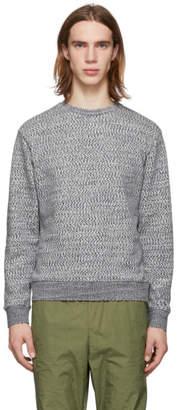 John Elliott Grey and White Glitch Sweater