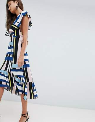 PrettyLittleThing Contrast Stripe Ruffle Sleeve Midi Dress