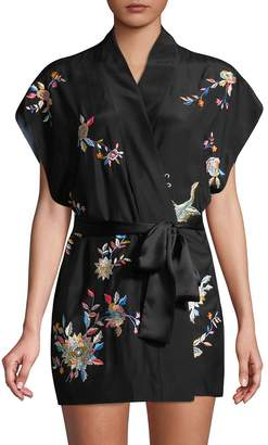 Josie Natori Women's Mariposa Embroidered Silk Robe