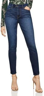 BCBGMAXAZRIA High-Rise Vented-Hem Skinny Jeans in Dark Indigo Wash