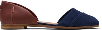 Toms Navy Penny Brown Suede and Leather Women's Jutti D'orsay Flats