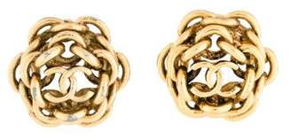 Chanel Chain-Link Camellia Clip-On Earrings