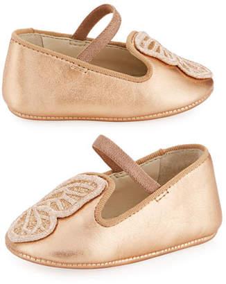 Sophia Webster Bibi Butterfly Metallic Leather Flats, Baby