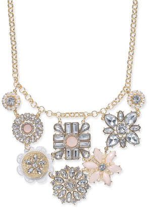 "INC International Concepts I.N.C. Gold-Tone Multi-Flower Statement Necklace, 17"" + 3"" extender, Created for Macy's"
