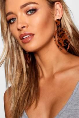 boohoo Leopard Resin Statement Earrings