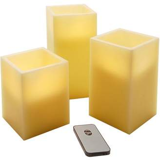 LumaBase Lumabase Battery Operated Candles with Remote- Square, Set of 3