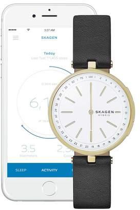 Skagen Women's Signatur T-Bar Hybrid Smart Leather Strap Watch, 36mm