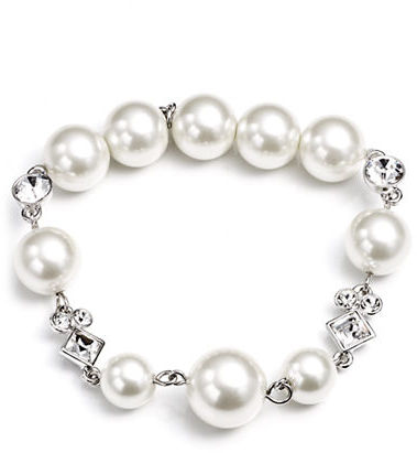 Givenchy Crystal and Glass Pearl Stretch Bracelet