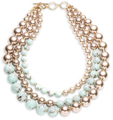 Carolee Carolee Turquoise Sands 4MM, 6MM, 8MM, 16MM Faux Pearl Beaded Three Row Necklace