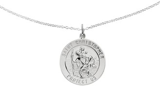 "Sterling Saint Christopher Round Solid Pendantw/ 18"" Chain"