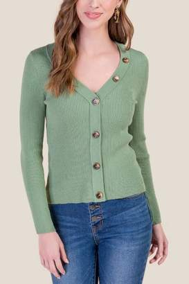 francesca's Lily Ribbed Cardigan Sweater - Sand