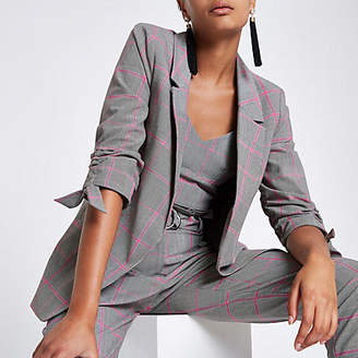 River Island Grey check ruched sleeve blazer