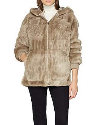 Trussardi Jeans Women's Hodded Jacket Over Fit Eco Fur, (Beige W050), (Manufacturer Size: )