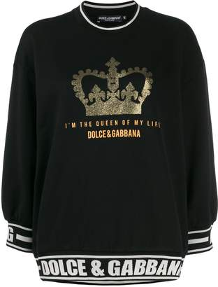 Dolce & Gabbana quote short three-quarter sleeved sweater