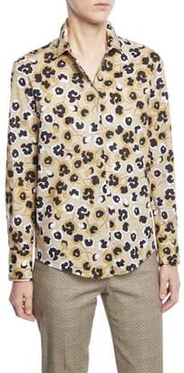 Piazza Sempione Floral Button Front Shirt, Beige