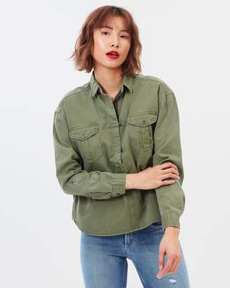 Maison Scotch Garment Dyed Army Detailing Top