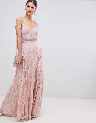 True Decadence Cami Strap Maxi Dress With Lace Insert Skirt