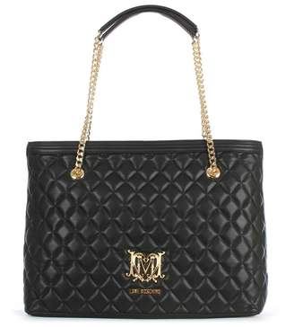 Love Moschino Chain Handle Black Quilted Shopper