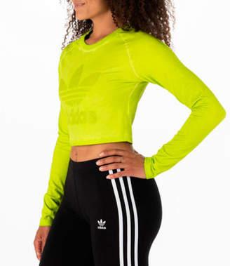 adidas Women's Tie Dye Long-Sleeve Crop T-Shirt