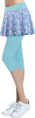 Cityoung Women's Yoga Capris Tennis Skirt with Leggings Size (Printed Cyan-a)
