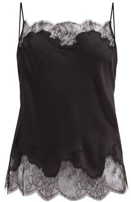 Carine Gilson Lace Trimmed Silk Satin Camisole - Womens - Black