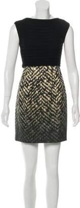 Giambattista Valli Silk-Paneled Wool Dress Black Silk-Paneled Wool Dress