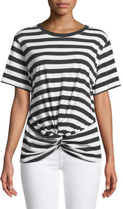 7 For All Mankind Crewneck Short-Sleeve Knotted-Front Striped Tee