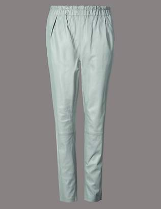 Marks and Spencer Leather Slim Leg Cigarette Trousers