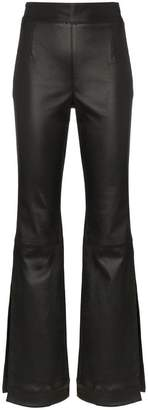 SOLACE London Amanda high waist side split leather trousers