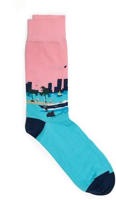 Corgi Cotton Blend Miami Scene Socks
