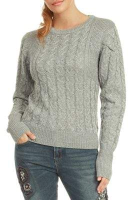 Dex Long-Sleeve Cable Knit Sweater