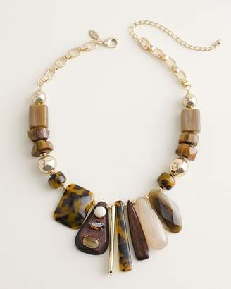 Chico's Chicos Short Neutral Beaded Bib Necklace