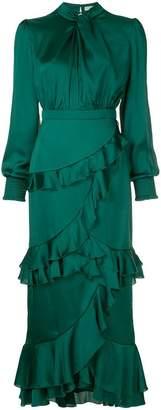 Three floor ruffle trimmed dress