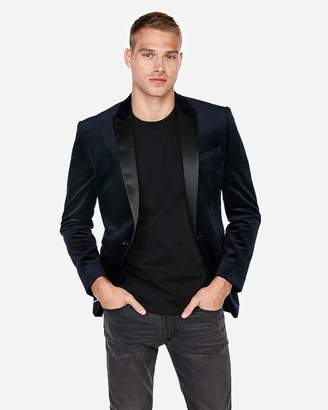 Express Slim Navy Velvet Tuxedo Jacket