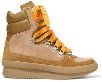 Isabel Marant Brendty Leather-trimmed Suede And Canvas Ankle Boots - Tan