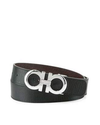 Salvatore Ferragamo Reversible Saffiano Gancini Buckle Belt, Black/Hickory $360 thestylecure.com