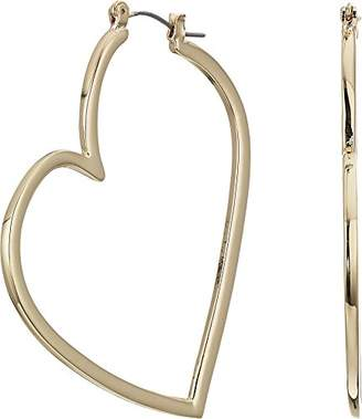 Betsey Johnson Women's Gold Open Heart Hoop Earrings