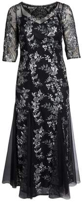 Alex Evenings Embroidered Fit & Flare Gown