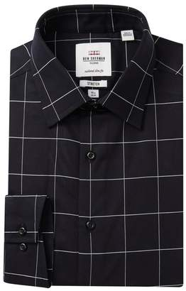 Ben Sherman Windowpane Check Tailored Slim Fit Dress Shirt