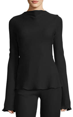 Brandon Maxwell Waterfall-Back Crepe Blouse